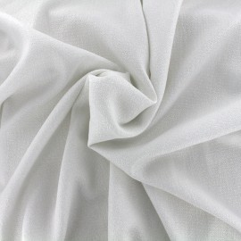 *Coupon tissu 20 cm X 145 cm* crêpe gaufré irisé - blanc/argent