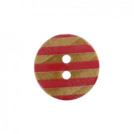 Bouton bois Douceur marine - rouge coquelicot