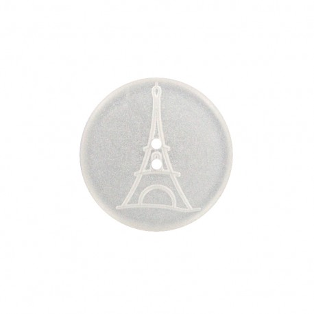 Paris pearly polyester button - white