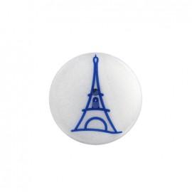 Bouton polyester effet nacre Paris - bleu