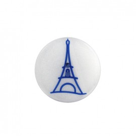 Paris pearly polyester button - blue