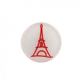 Bouton polyester effet nacre Paris - rouge
