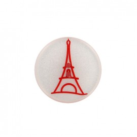 Paris pearly polyester button - red
