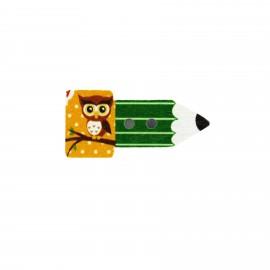Bouton bois Crayon hibou - vert/jaune