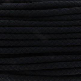 Braided cotton cord 12mm - black x 1m