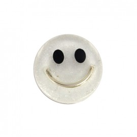 Smile iridescent polyester button - white