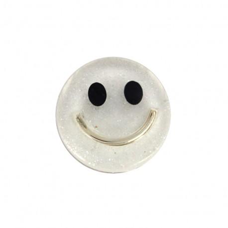 Smile iridescent polyester button - white