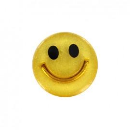 Smile iridescent polyester button - yellow