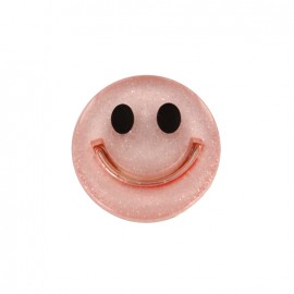 Smile iridescent polyester button - red