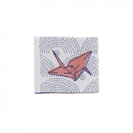 Etiquette tissée Madame Casse Bonbon - Origami rose