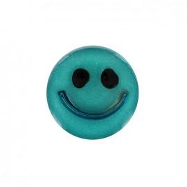 Bouton polyester irisé Smile - turquoise