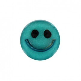 Smile iridescent polyester button - turquoise