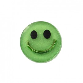 Smile iridescent polyester button - green