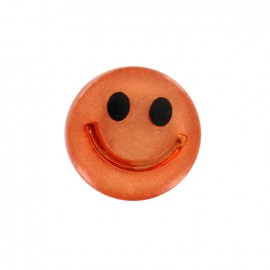 Smile iridescent polyester button - orange