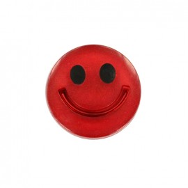 Bouton polyester irisé Smile - rouge