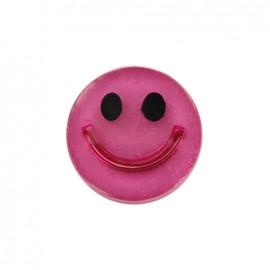 Bouton polyester irisé Smile - fuchsia