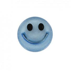 Bouton polyester irisé Smile - bleu ciel
