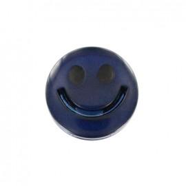 Bouton polyester irisé Smile - bleu