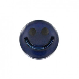 Smile iridescent polyester button - blue