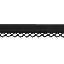 Petit rond Picked edges folded up bias tape - black x 1m
