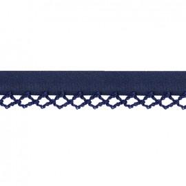 Biais replié à bord crocheté Petit rond - bleu nuit x 1m