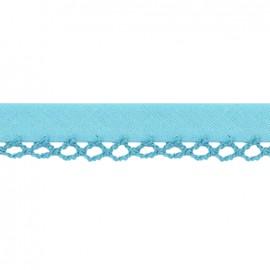 Biais replié à bord crocheté Petit rond - bleu x 1m