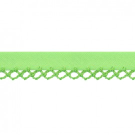 Petit rond Picked edges folded up bias tape - green x 1m