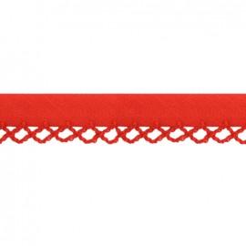 Biais replié à bord crocheté Petit rond - rouge x 1m
