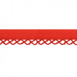 Petit rond Picked edges folded up bias tape - red x 1m