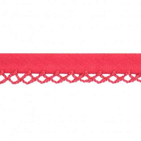 Petit rond Picked edges folded up bias tape - fuchsia x 1m