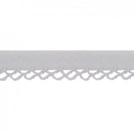♥ Coupon 100 cm ♥ Petit rond Picked edges folded up bias tape - grey