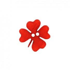 Bouton polyester Printemps en fête - trèfle rouge