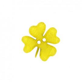 Bouton polyester Printemps en fête - trèfle jaune
