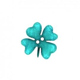 Printemps en fête polyester button - blue clover