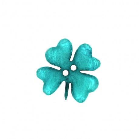 bouton polyester printemps en f te tr fle bleu ma petite mercerie. Black Bedroom Furniture Sets. Home Design Ideas