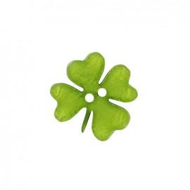 Bouton polyester Printemps en fête - trèfle vert