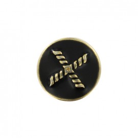 Beau rivage metal button - black