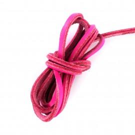 Lacet plat en cuir  3 mm - Rose Flashy