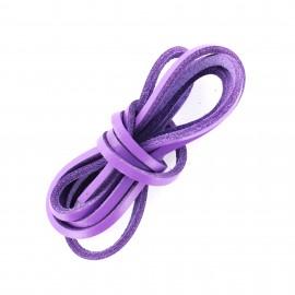 Lacet plat en cuir  3 mm - Violet (vendu à l'unité)