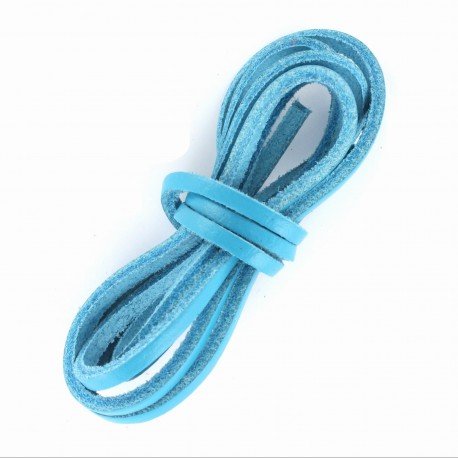 3 mm Flat Leather Strip - Blue Turquoise