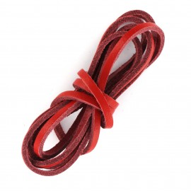 3 mm Flat Leather Strip - Red