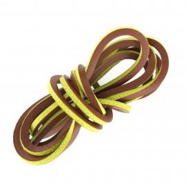 Lacet plat en cuir  3 mm - Marron vert (vendu à l'unité)