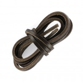 Lacet plat en cuir  3 mm - Marron foncé (vendu à l'unité)