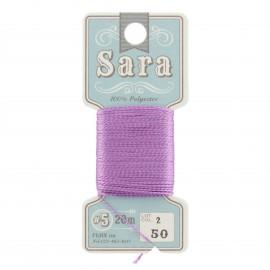 Fil à broder Sara 20m - lilas n°50