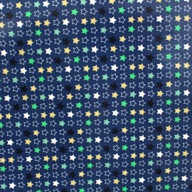 Tissu enduit coton brillant Constellation - bleu x 10cm