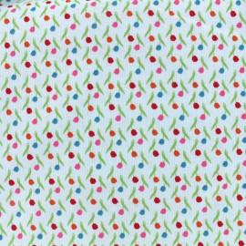 Tissu velours milleraies Poppy Tulips - ciel x 10cm