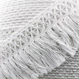 Ruban galon franges au crochet Cotonnade 100mm - blanc x 1m