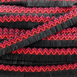 Jamayca weaved braid fringe ribbon - multi black and red x 1m