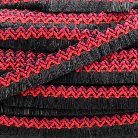 Jamayca weaved braid fringe ribbon - multi black x 1m