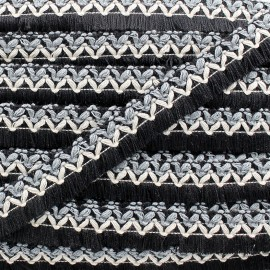 Jamayca weaved braid fringe ribbon - multi black and grey x 1m